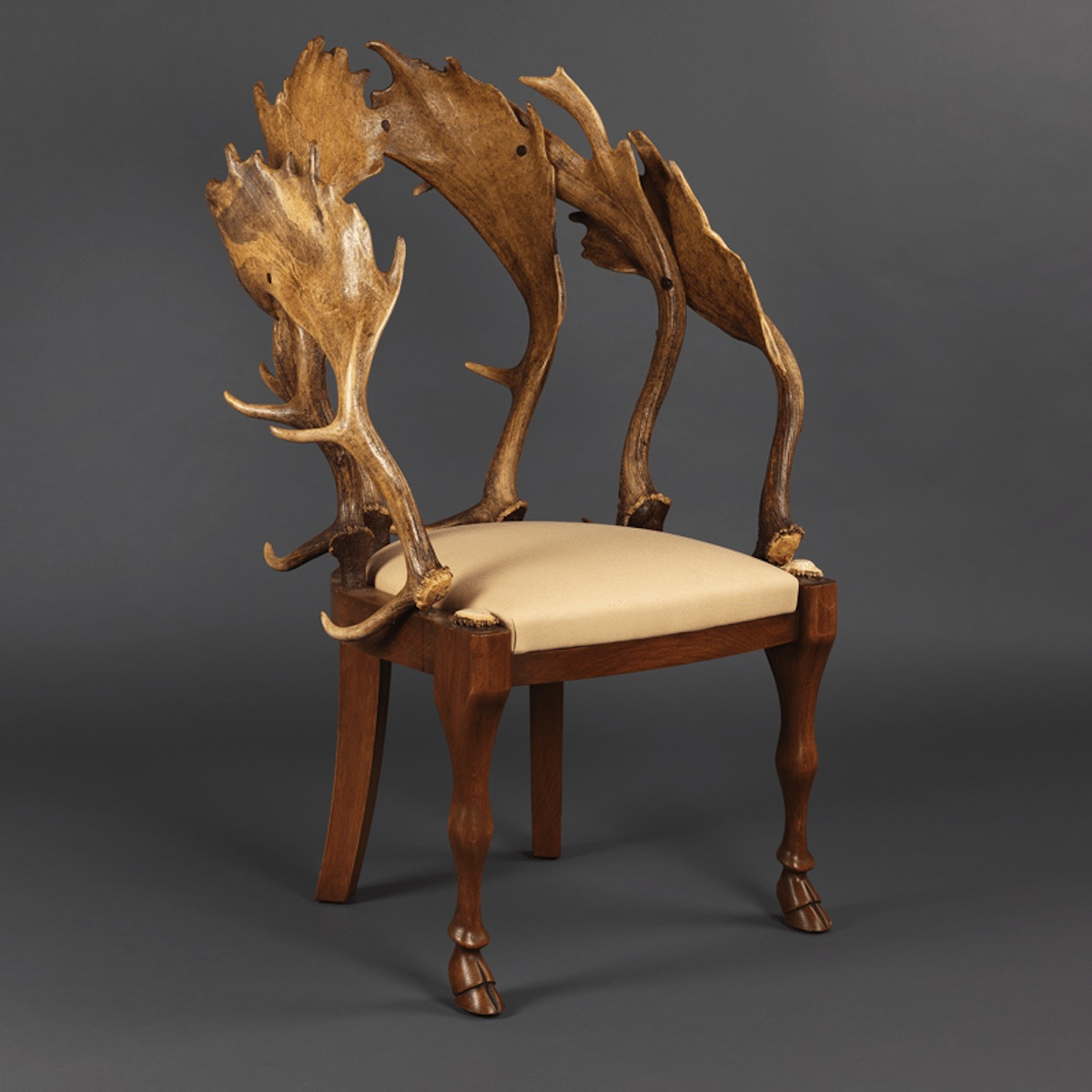 European Fallow Horn and Cowhide Chairs